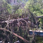 Pool area right after tornado